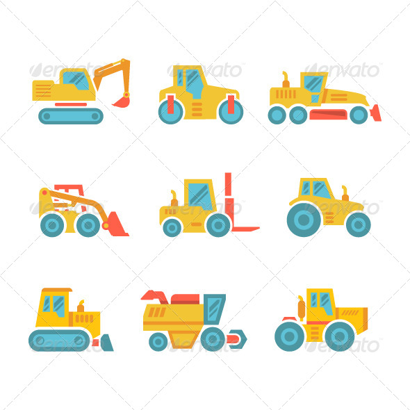 GraphicRiver Set Modern Flat Icons of Tractors Farm Machines 8003551