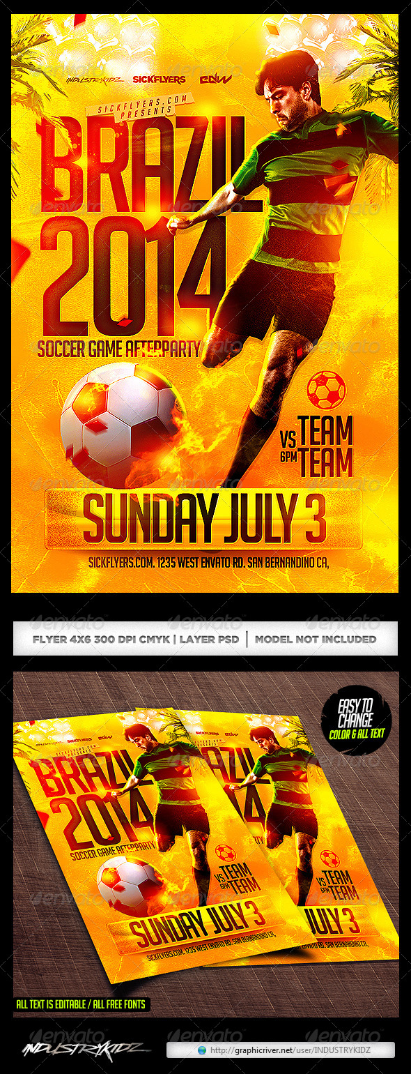 GraphicRiver Brazil Soccer Cup Flyer Template PSD 8003717