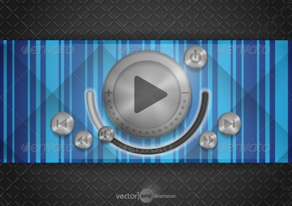 GraphicRiver Abstract Technology App Icon With Music Button 8004341
