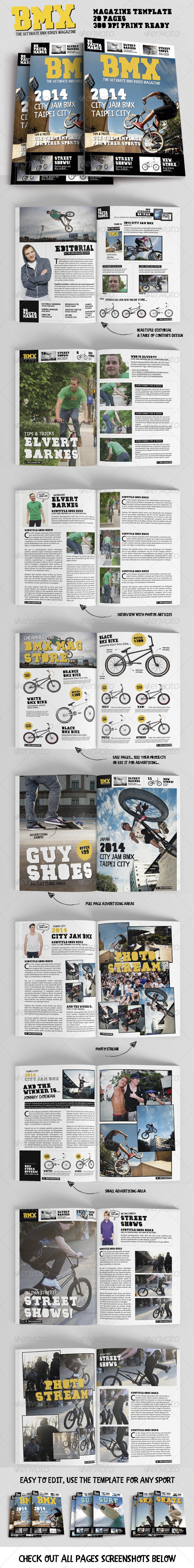 GraphicRiver Bmx Bikes Sports Magazine Template for Print 8004368