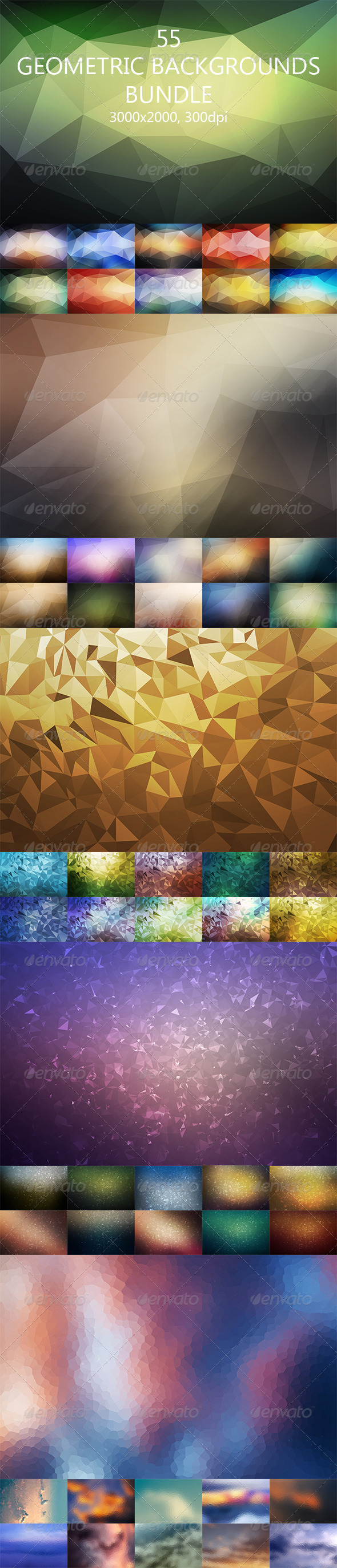 GraphicRiver 55 Geometric Backgrounds Bundle 8004446