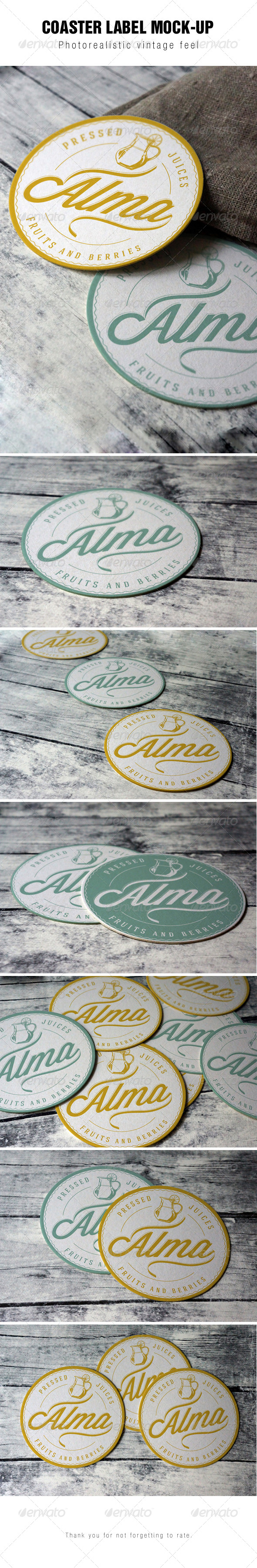 Coaster Round Label Mockup - Stationery Print