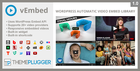 CodeCanyon vEmbed WordPress Automatic Video Embed Library 7975642
