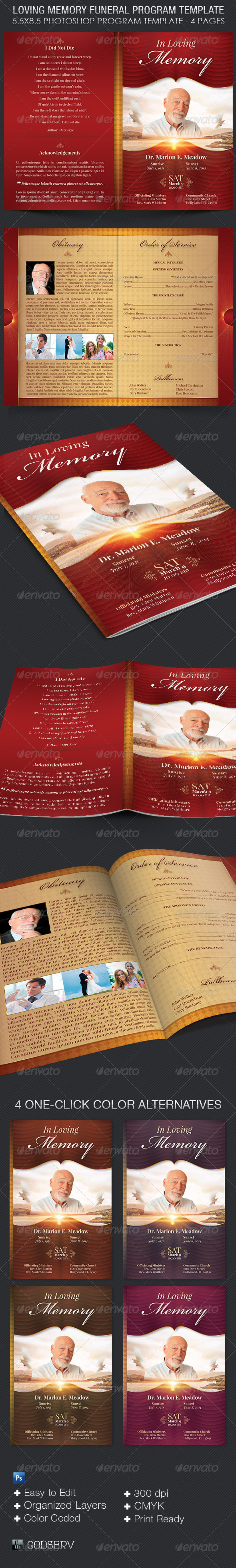 GraphicRiver Loving Memory Funeral Program Template 8005090