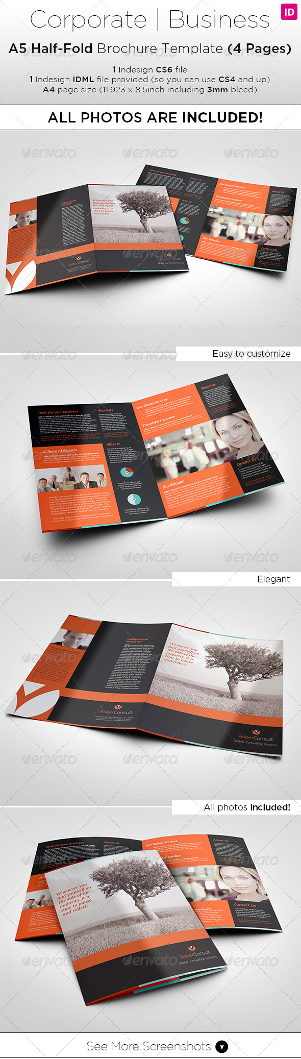GraphicRiver A5 Half-Fold Brochure 4 pages Photo Included 8005409