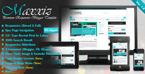 ThemeForest Maxxiz Responsive Magazine News Blogger Template 5322391