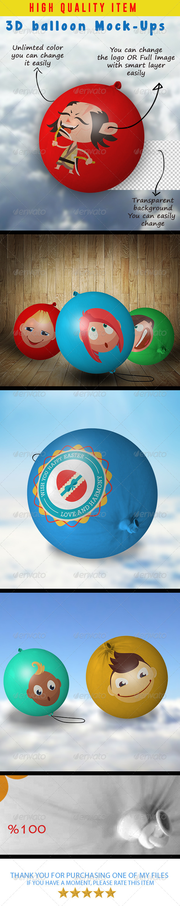 GraphicRiver 3D balloon Mock-Ups 8005775