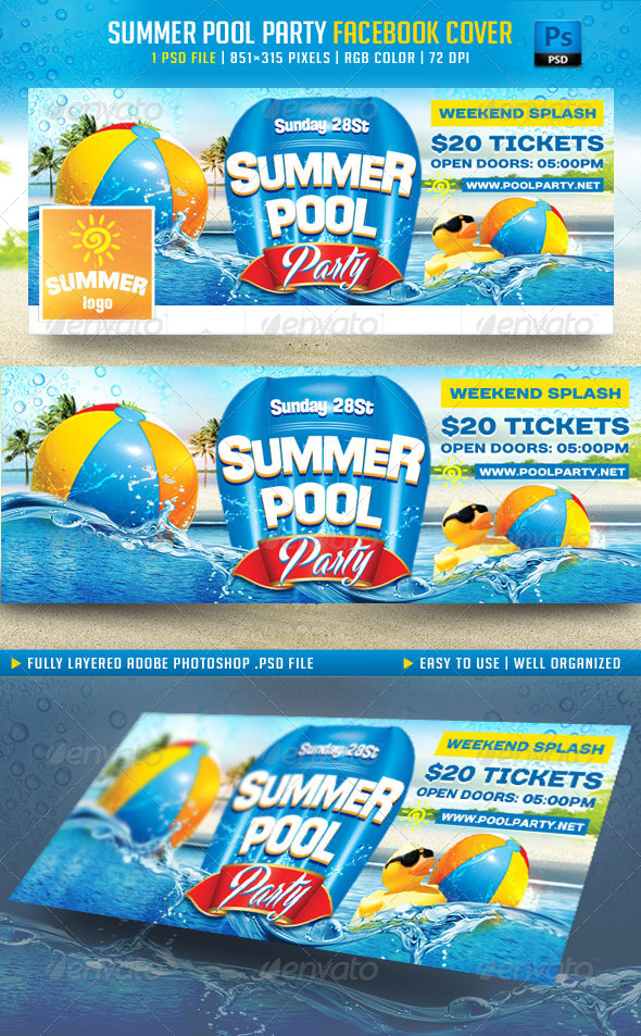 GraphicRiver Summer Pool Party Facebook Cover 8006029