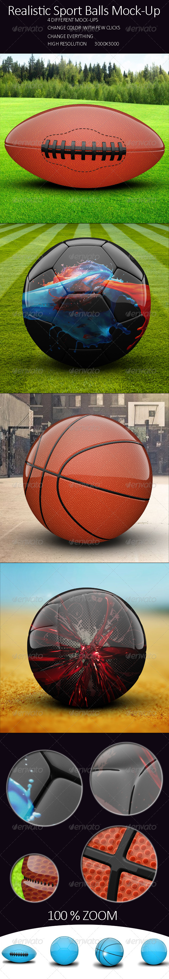 GraphicRiver Realistic Sport Balls Mock Up 8006900