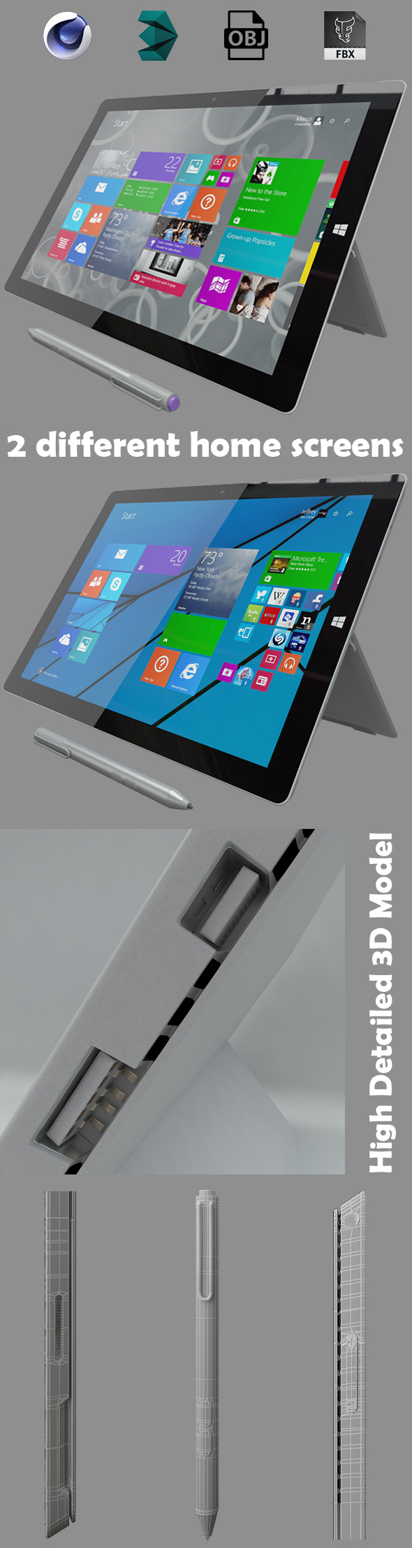 Microsoft surface pro 3 - 3DOcean Item for Sale