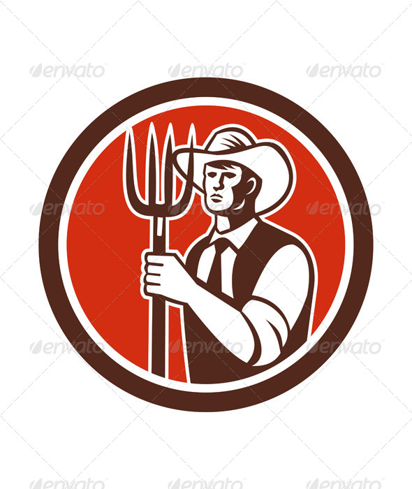 GraphicRiver Farmer Holding Pitchfork 8007286