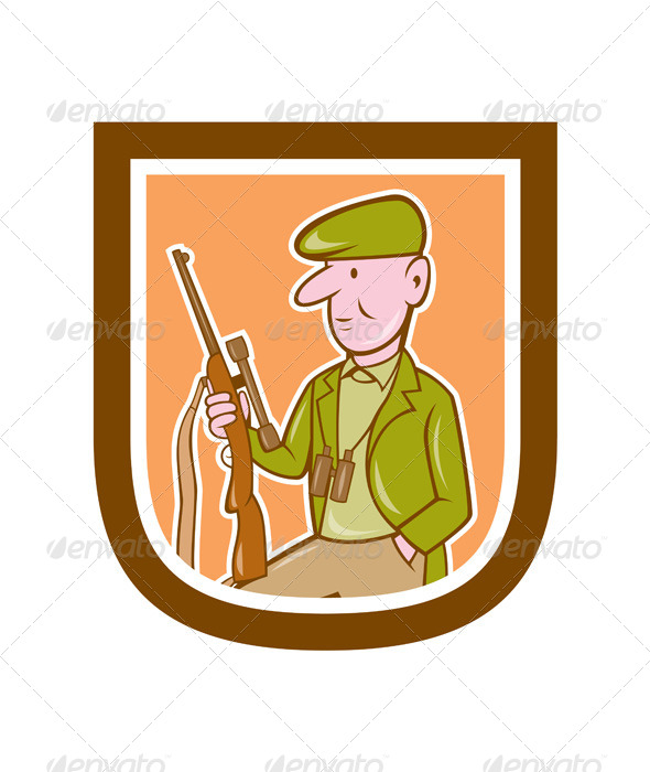 GraphicRiver Hunter Holding Rifle Shield 8007291