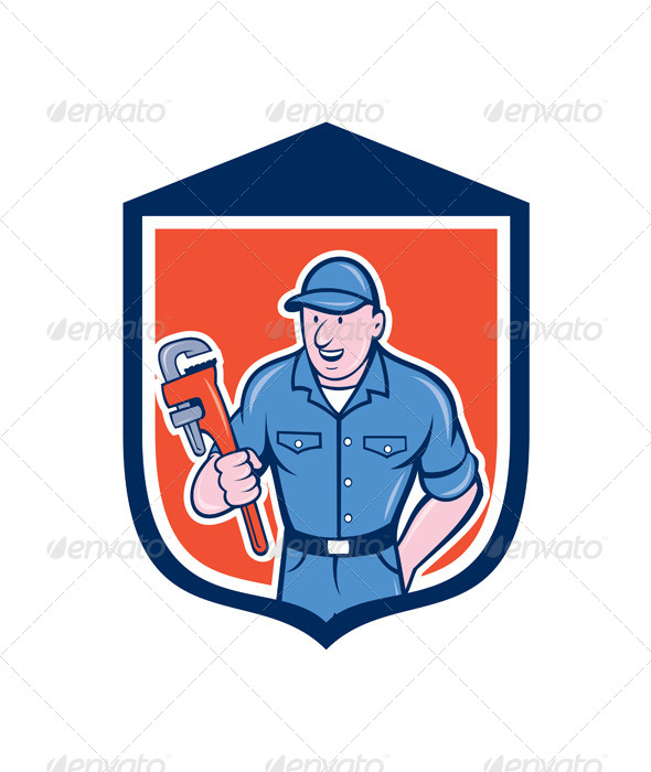 GraphicRiver Plumber Holding Monkey Wrench 8007307