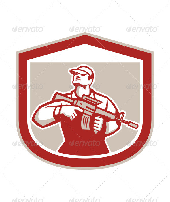 GraphicRiver Military Serviceman with Assault Rifle 8007353