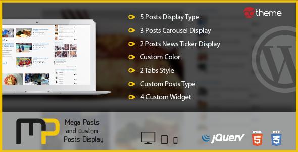 CodeCanyon Mega Posts and Custom Posts Display WP Plugin 8001774