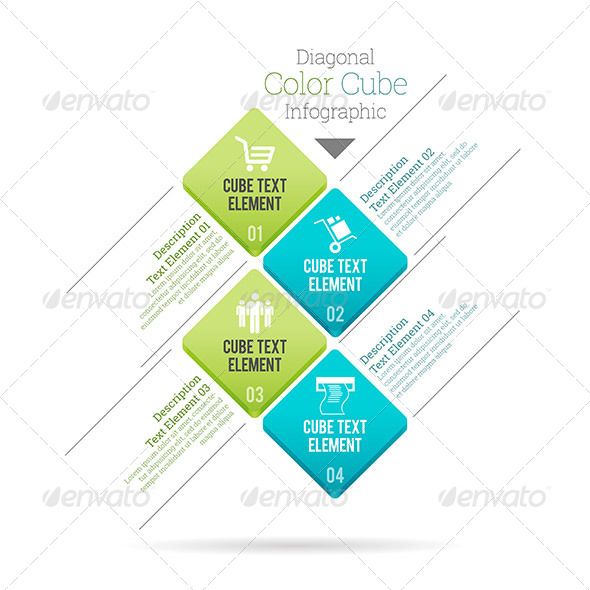 GraphicRiver Diagonal Color Cube Infographic 8007894