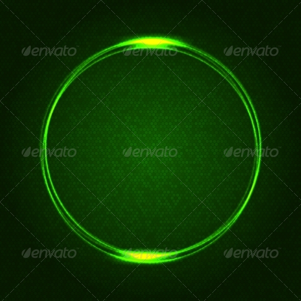 GraphicRiver Green Glowing Rings on Dark Dotted Abstract 8008058