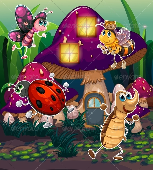 GraphicRiver Insects with Mushroom House 8008184