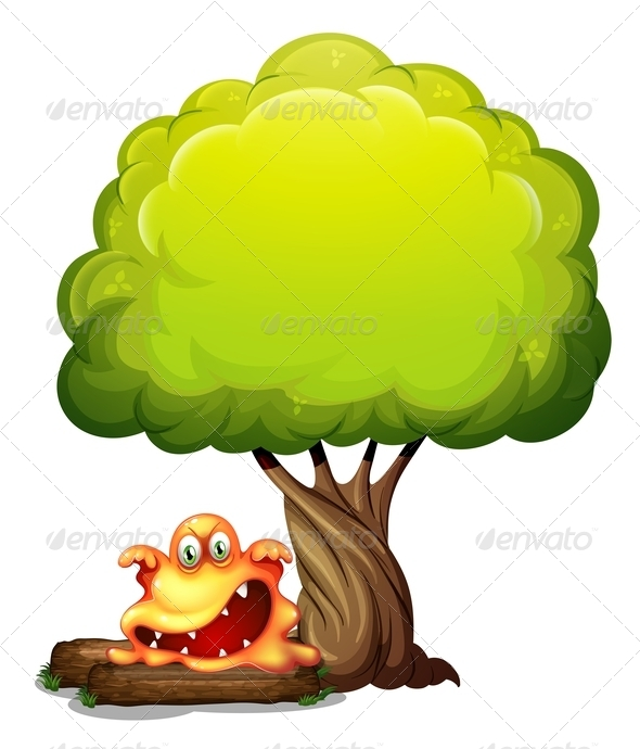 GraphicRiver Scary Orange Monster Under Tree 8008243