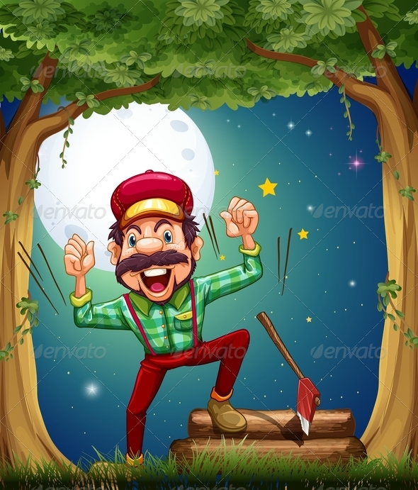 GraphicRiver Cheerful Lumberjack in the Forest 8008264