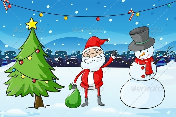 GraphicRiver Santa Claus Snowman and Xmas Tree 8008267