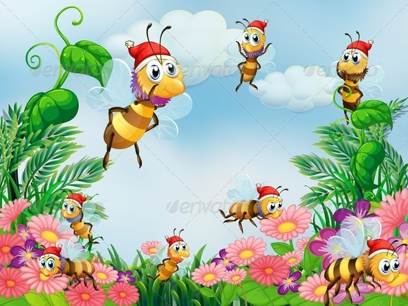 GraphicRiver Garden with Bees 8008283