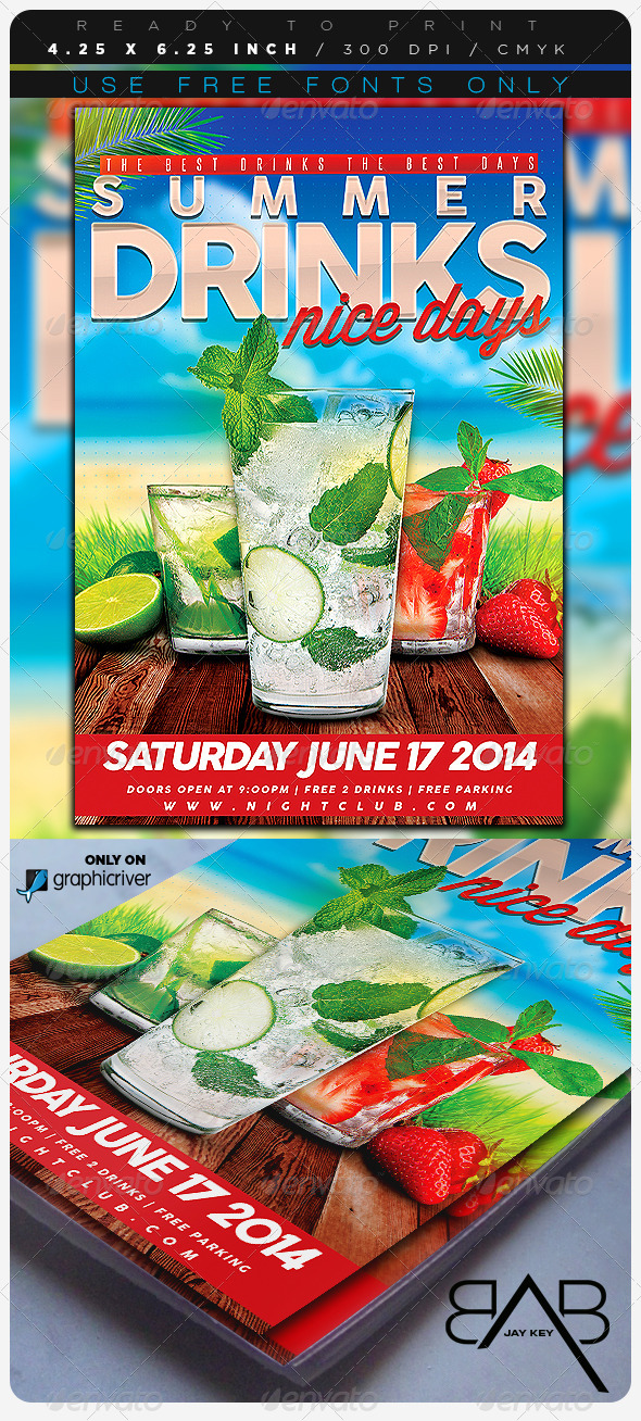 GraphicRiver Summer Drinks Flyer 8008365