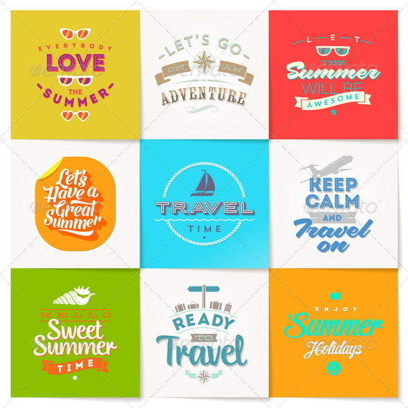 GraphicRiver Set of Travel and Vacation Type Emblems and Symbol 8008449