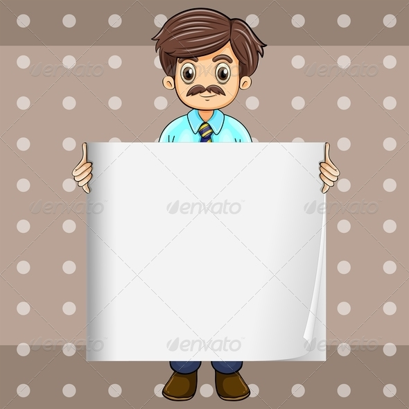 GraphicRiver Man with a Mustache Holding an Empty Board 8008494