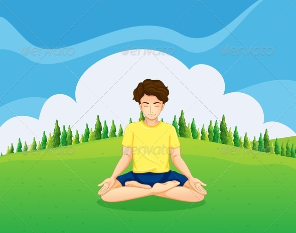 GraphicRiver Young Gentleman on a Hilltop Doing Yoga 8008503