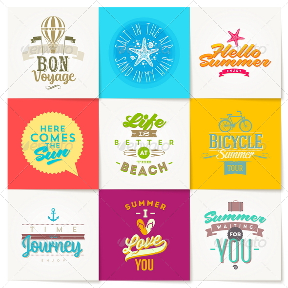 GraphicRiver Set of Summer Vacation and Travel Type Design 8008505