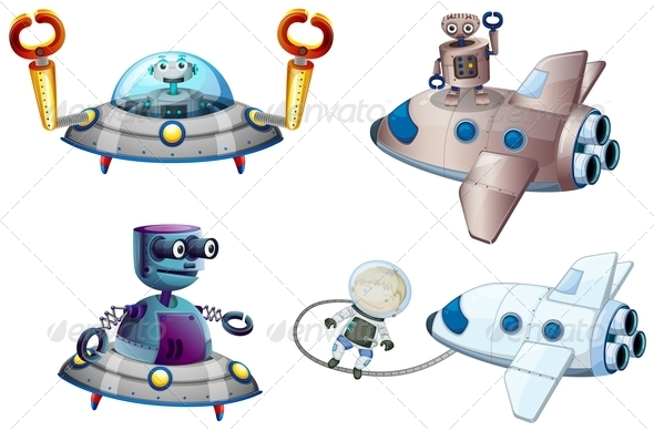 Spaceships with Robot and a Young Boy