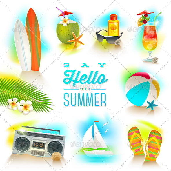 GraphicRiver Set of Summer and Beach Vacations Elements 8008518