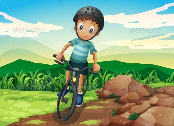 GraphicRiver Kid Biking on a Hilltop 8008549