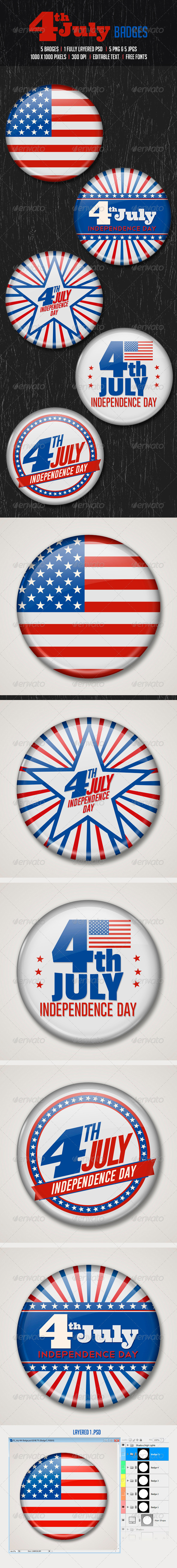 GraphicRiver July 4th Badges 8008552