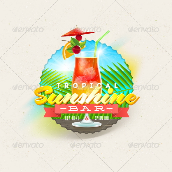 GraphicRiver Tropical Summer Type Design with Cocktail 8008554