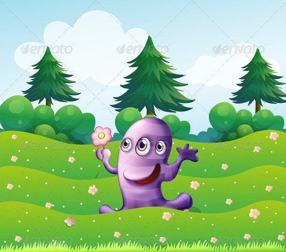 GraphicRiver Three-Eyed Violet Monster Above a Hill 8008555