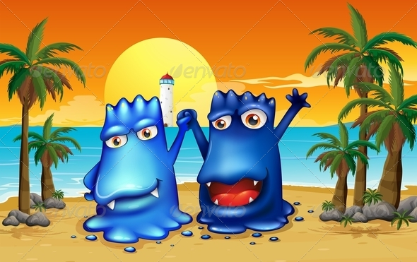 GraphicRiver Two Monsters at the Beach with Palm Trees 8008556