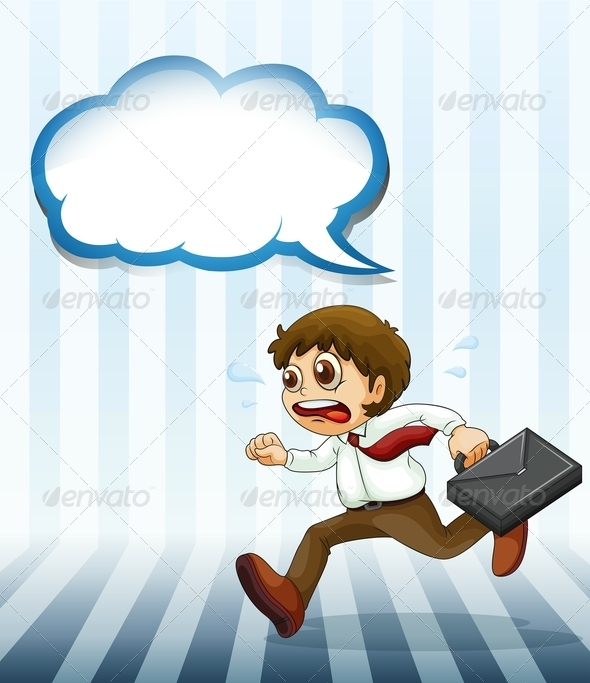 GraphicRiver Man Running Hurriedly Carrying a Case 8008558