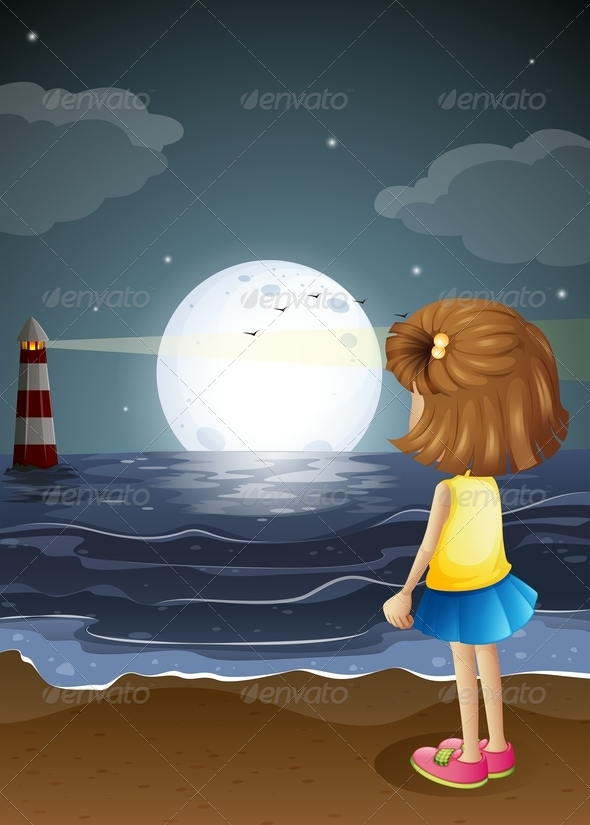 GraphicRiver Girl Watching a Lighthouse on the Beach 8008589