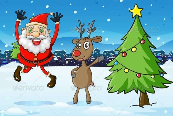 Santa and a Deer Beside a Christmas Tree
