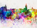 Brasov skyline in watercolor background - PhotoDune Item for Sale