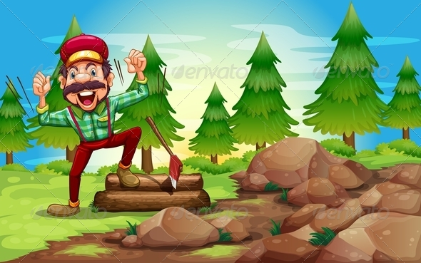 GraphicRiver Woodman in a Forest Near Pine Trees 8008606