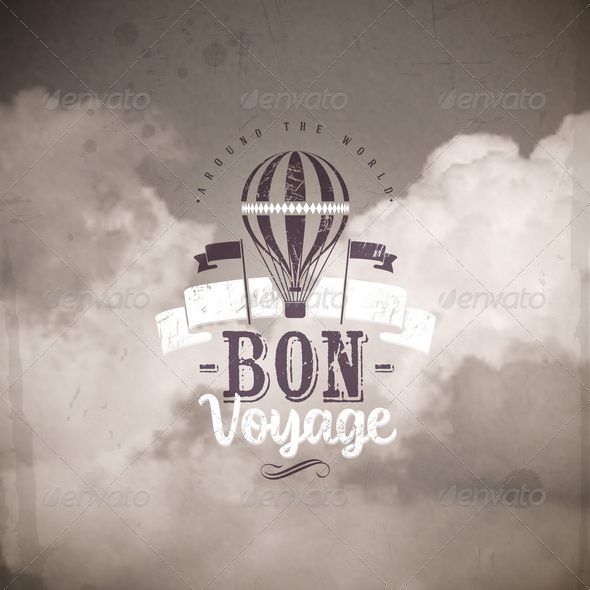 GraphicRiver Vintage Type Design with Air Balloon and Clouds 8008615