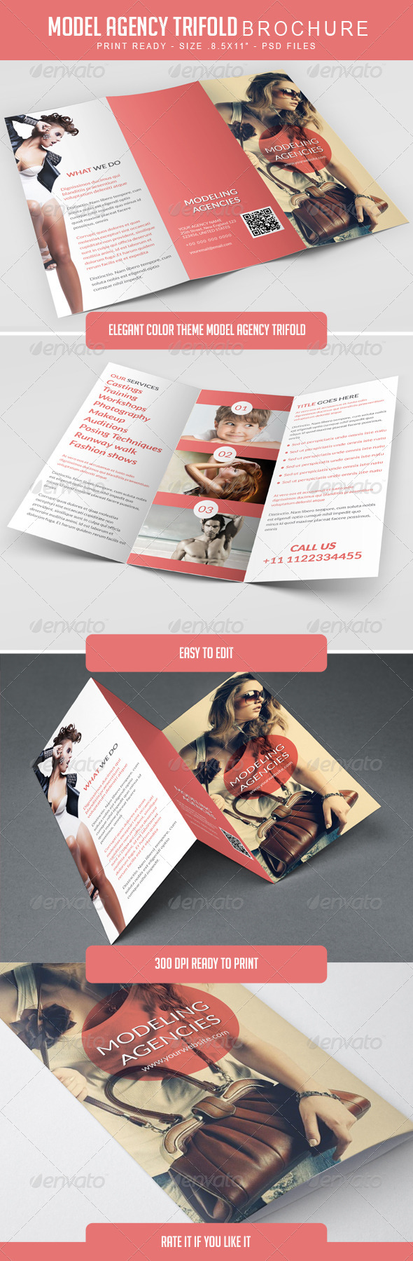 GraphicRiver Modeling Agency Trifold Brochure 8008661