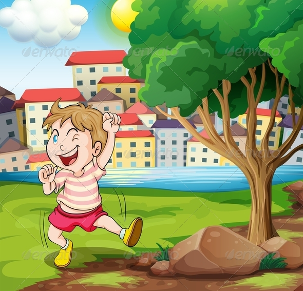 GraphicRiver Happy Kid Near a Tree at a Riverbank 8008742