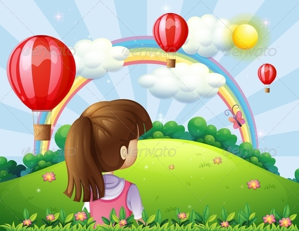 GraphicRiver Girl Watching Balloons and Rainbow 8008812