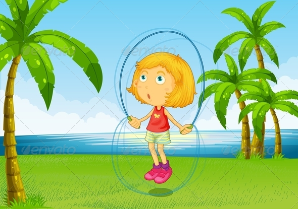 GraphicRiver Girl Skipping Rope at Riverside 8008819