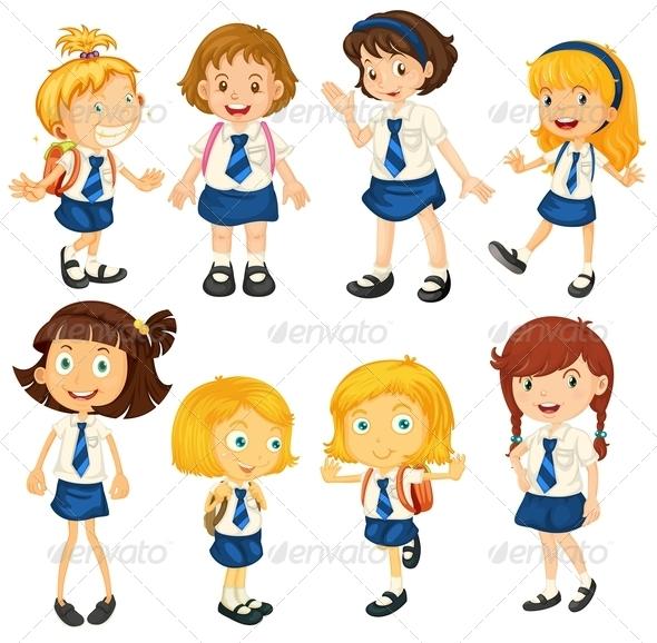 GraphicRiver Eight Schoolgirls in their Uniforms 8008822