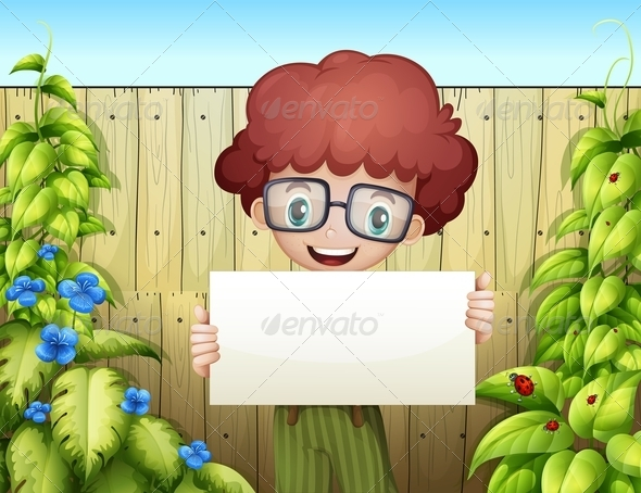 GraphicRiver Boy Holding an empty signage near the wooden fen 8008826